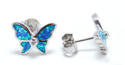 Sterling Silver Lab Opal Butterfly CZ Earrings - piper-and-dune - Jewelry