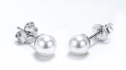 Sterling Silver Synthetic Pearl 8MM Earrings - piper-and-dune - Jewelry
