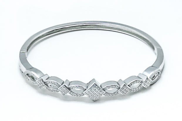 Sterling Silver Elegant Pave CZ Bangle Bracelet - piper-and-dune - Jewelry
