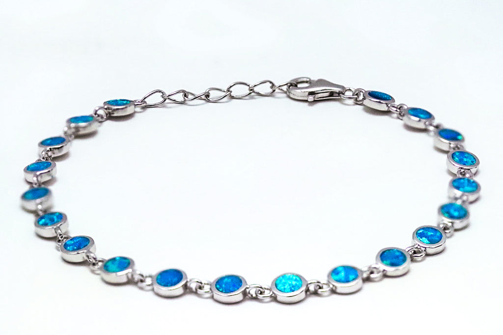 Sterling Silver Round Blue Lab Opal Bracelet - piper-and-dune - Jewelry