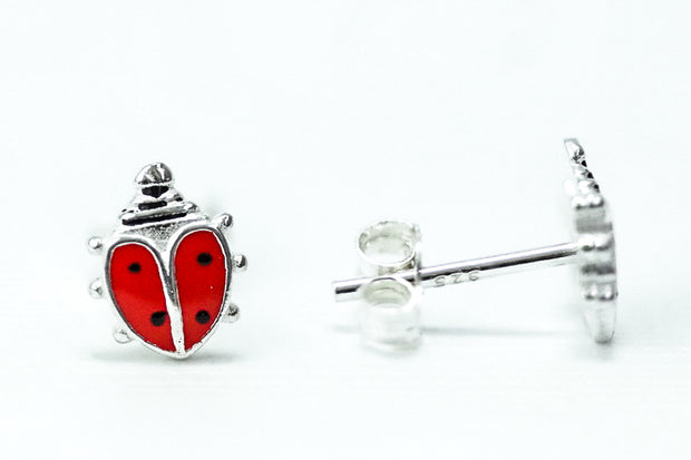 Sterling Silver Red Enamel Ladybug Earrings - piper-and-dune - Jewelry