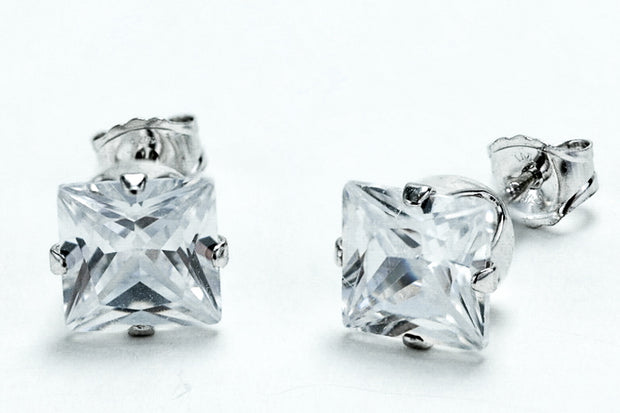 Sterling Silver 6mm Princess Cut CZ Stud Earrings Square - piper-and-dune - Jewelry
