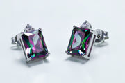 Sterling Silver Rectangular Rainbow Topaz CZ Earrings - piper-and-dune - Jewelry