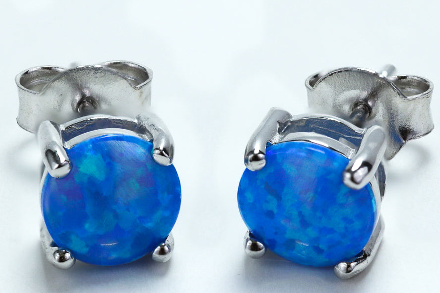 Sterling Silver Round Blue Lab Opal Stud Earrings - piper-and-dune - Jewelry