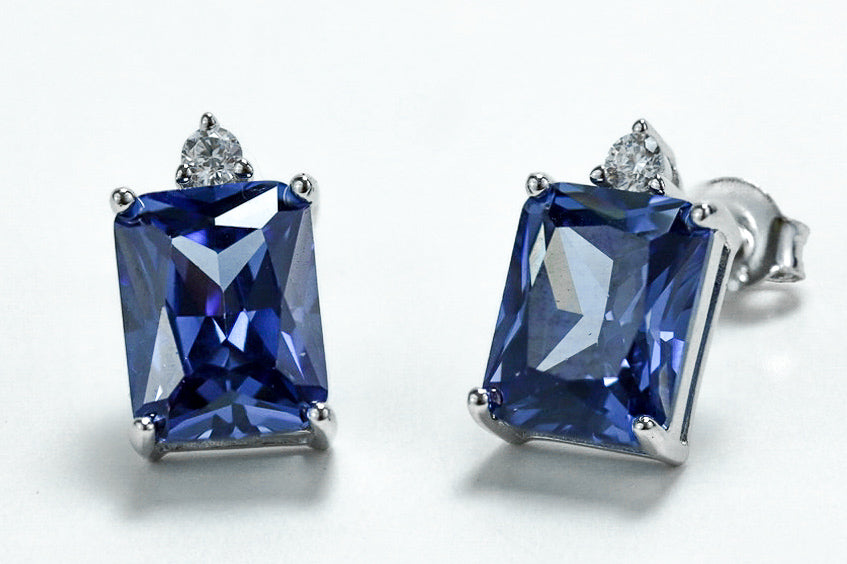 Sterling Silver Rectangular Tanzanite CZ Earrings - piper-and-dune - Jewelry