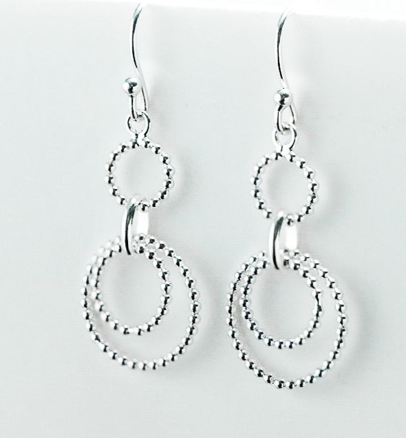 Sterling Silver Beaded Dangle Hook Earrings - piper-and-dune - Jewelry