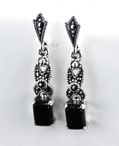 Sterling Silver Dangling Rectangular Black Onyx Marcasite Earrings - piper-and-dune - Jewelry