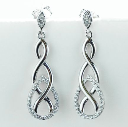 Sterling Silver Infinity CZ Dangle Earrings - piper-and-dune - Jewelry