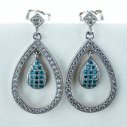 Sterling Silver Double Drop Blue Topaz CZ Dangle Earrings - piper-and-dune - Jewelry
