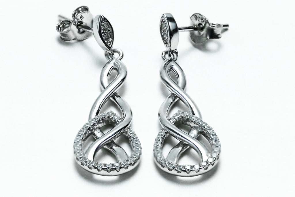 Sterling Silver Infinity Marquise CZ Dangle Earrings - piper-and-dune - Jewelry
