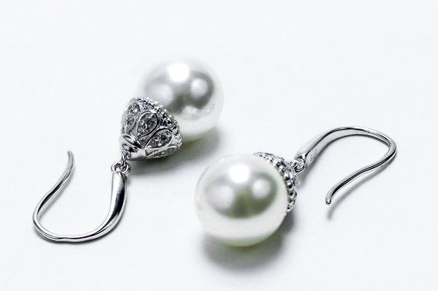 Sterling Silver Elegant Synthetic Pearl & Clear CZ Hook Earrings - piper-and-dune - Jewelry