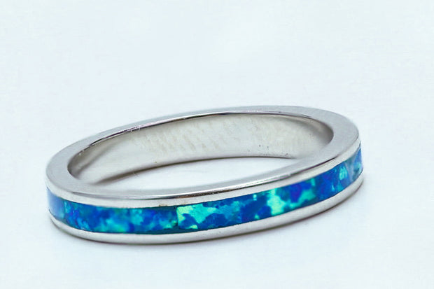 Sterling Silver Seamless Lab Opal Ring - piper-and-dune - Jewelry