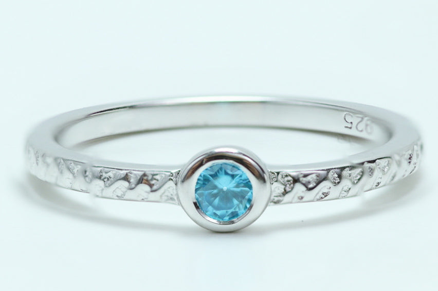 Sterling Silver Small Round Cut Aqua Blue CZ Ring - piper-and-dune - Jewelry
