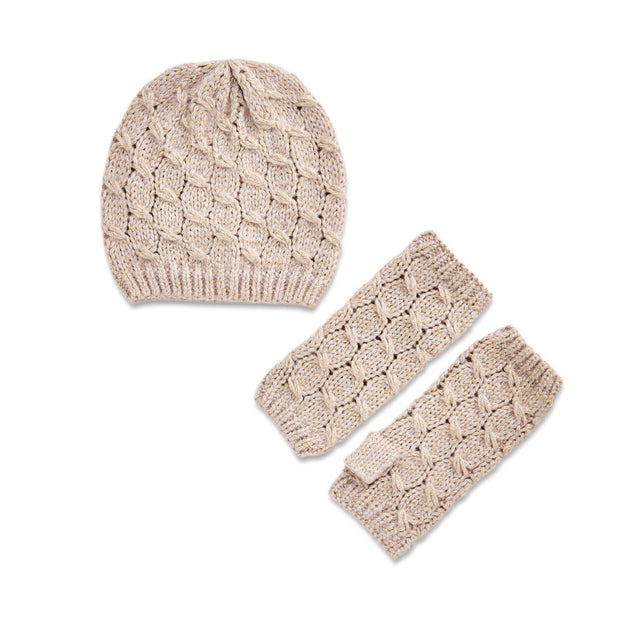 Cable Knit Hat & Fingerless Gloves Set - piper-and-dune - Women's Accessories
