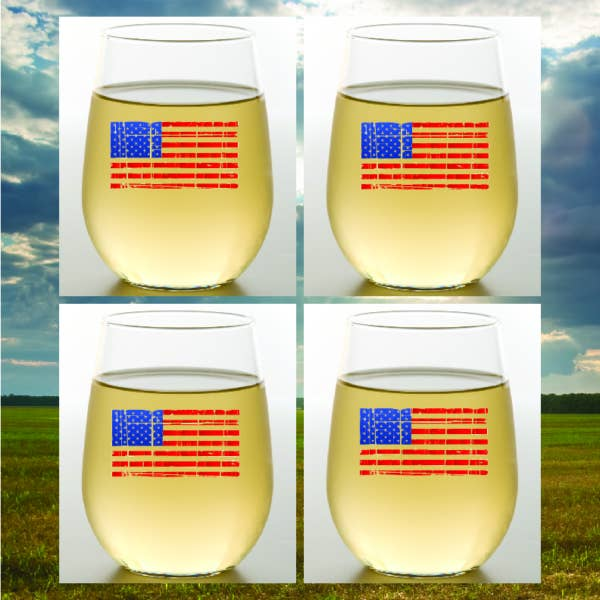 American Flag Shatterproof Stemless Wine Glasses - Wine-Oh! - 4-Pack