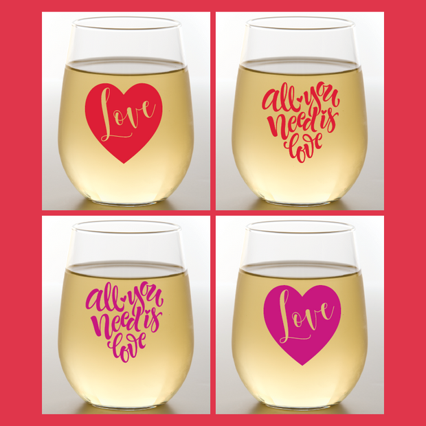 Valentine's Day Shatterproof Wine Glasses | Wine-Oh! - 4 Pack