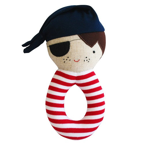 Linen Pirate Grab Rattle Navy - piper-and-dune - Baby + Kids