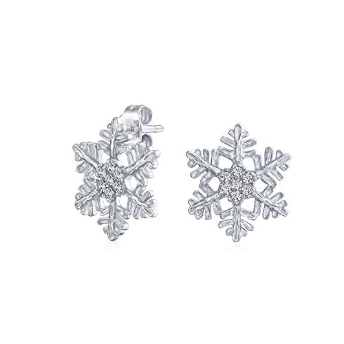 Sterling Silver Winter Snowflake Clear CZ Earrings - piper-and-dune - Jewelry