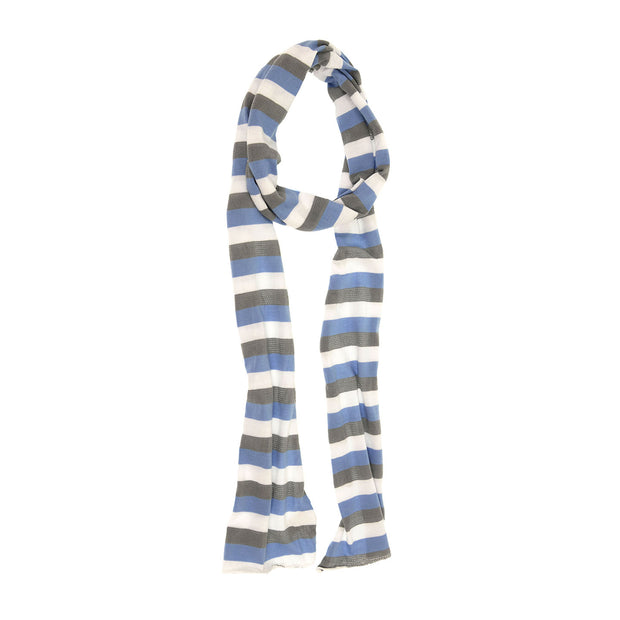 White, Blue and Taupe Stripe Jersey Scarf