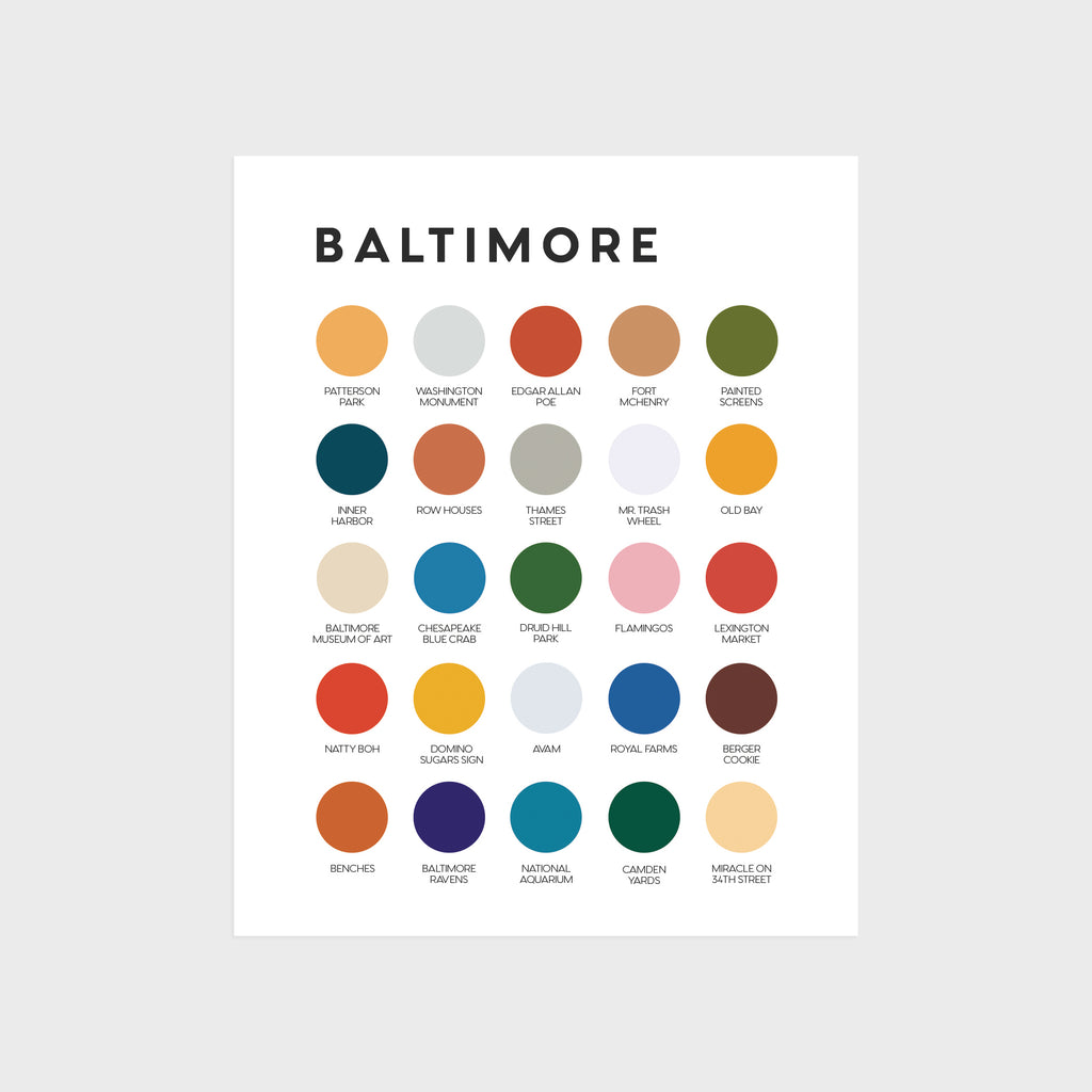 "Baltimore Color Palette Print 8"" x 10"""