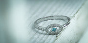 Sterling Silver Aqua Blue Stone Evil Eye CZ Ring - piper-and-dune - Jewelry