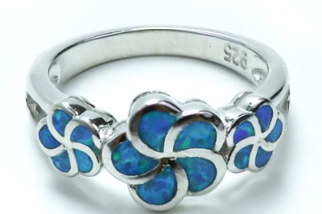 Sterling Silver Lab Opal Plumeria Ring - piper-and-dune - Jewelry