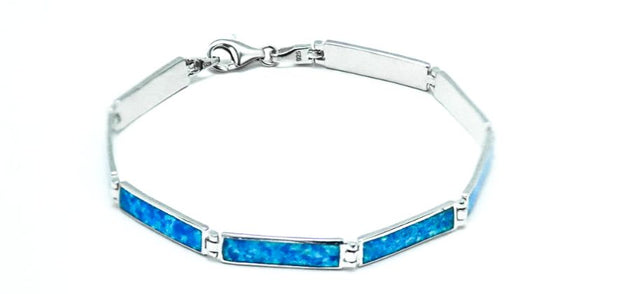 Sterling Silver Rectangular Blue Lab Opal Bracelet - piper-and-dune - Jewelry
