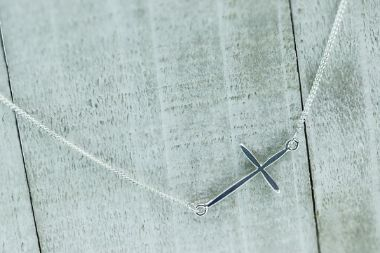 Sterling Silver Sideways Cross Necklace - piper-and-dune - Jewelry