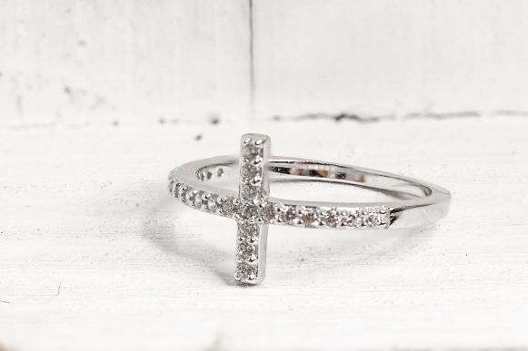 Sterling Silver Cross Clear CZ Ring - piper-and-dune - Jewelry
