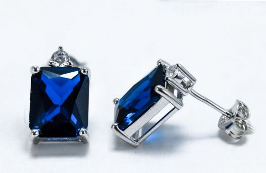 Sterling Silver Rectangular Blue Sapphire CZ Earrings - piper-and-dune - Jewelry
