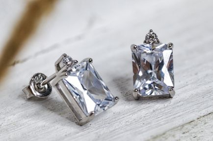 Sterling Silver Rectangular Clear CZ Earrings - piper-and-dune - Jewelry