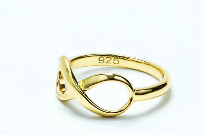 Sterling Silver Yellow Gold Plated Infinity Ring - piper-and-dune - Jewelry