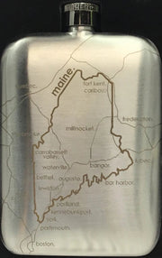 Engraved State Maps Pocket Flasks - piper-and-dune - Home Goods