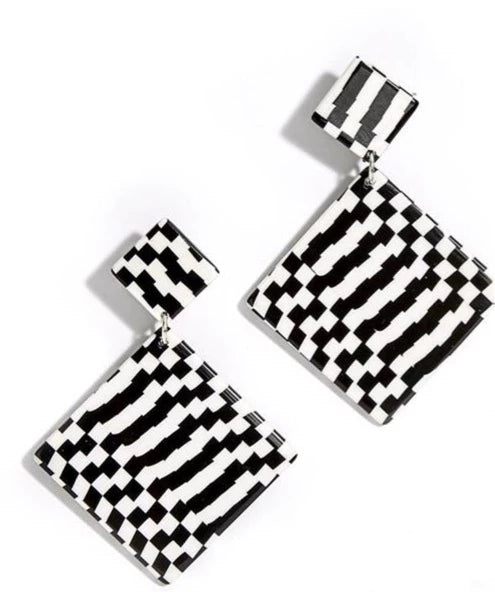 Black & White Checker Earrings - piper-and-dune - Jewelry