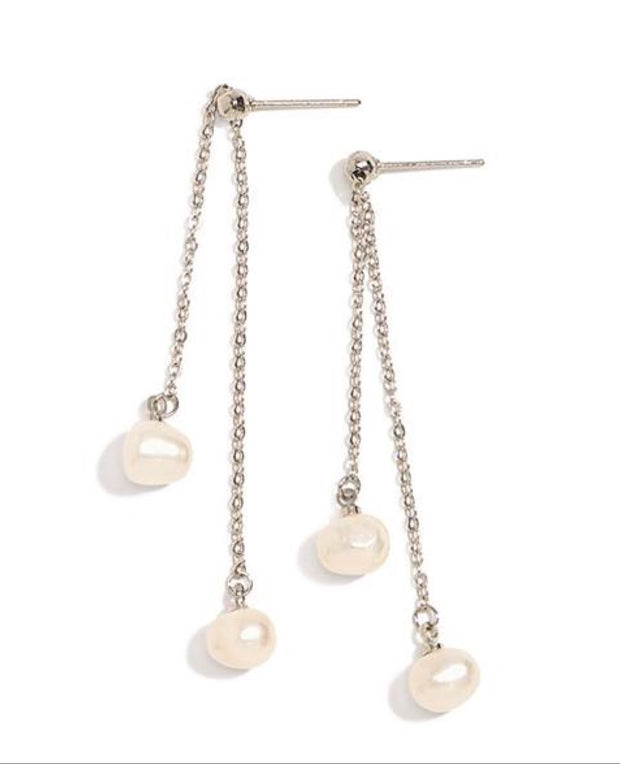 Chain and Genuine Pearl Drop Earrings - 4 Color Options - piper-and-dune - Jewelry