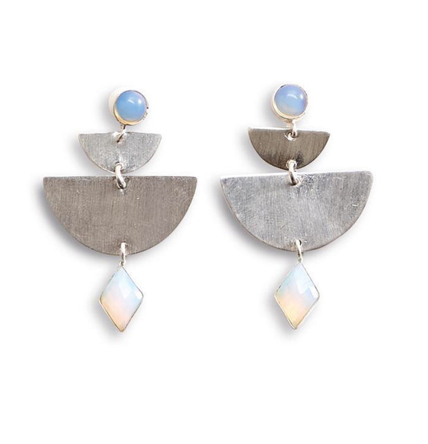 Half Circle Earrings with Stone - Asst 2 Colors - piper-and-dune - Jewelry
