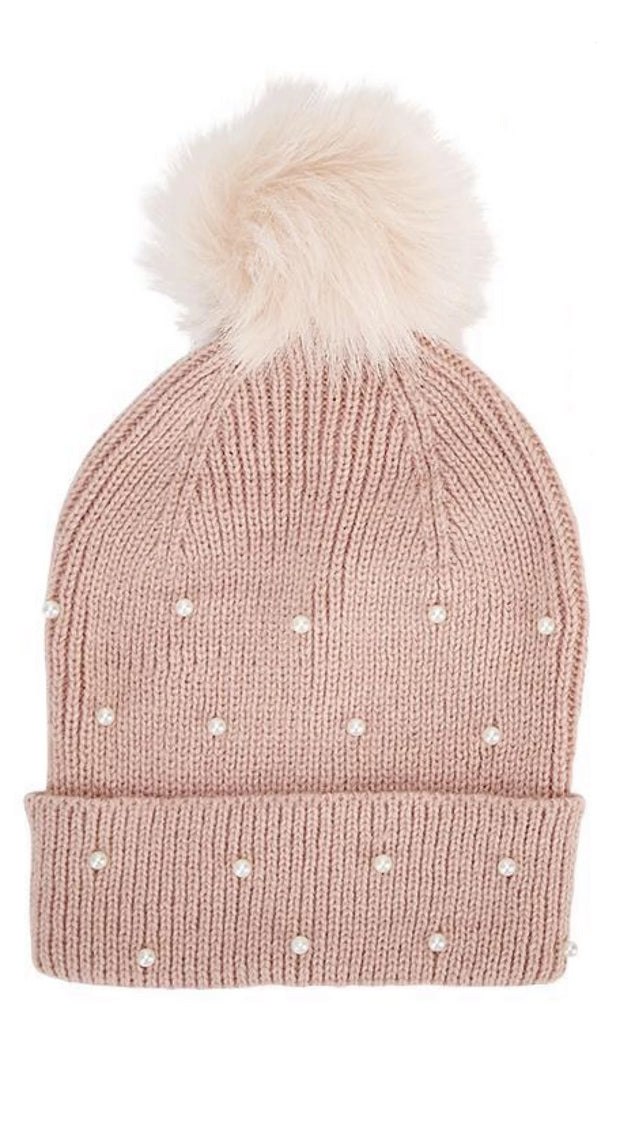 Pearl Embellished Hat with Pom Pom - piper-and-dune - Women's Accessories