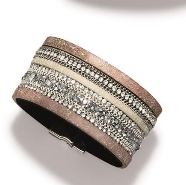 Wide Embellished Crystal Bracelet - piper-and-dune - Jewelry