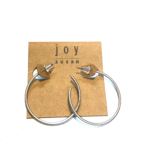 Antiqued Silver Hoop Post Earring - piper-and-dune - Jewelry