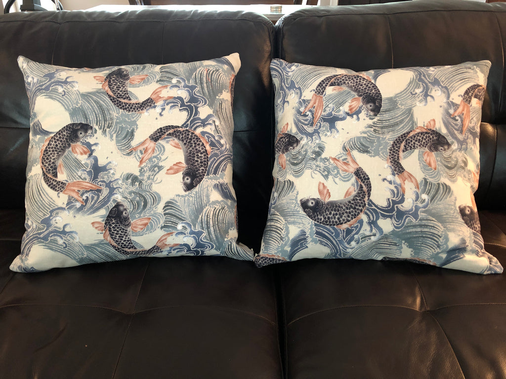 Decorative Koi Fish Down Pillows - Sold in Sets of Two, 3 Patterns - piper-and-dune - Home Goods