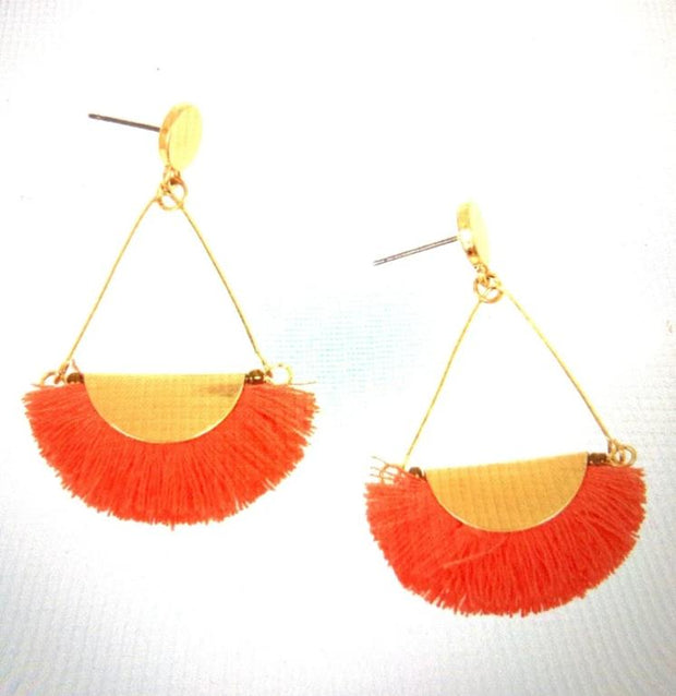 Gold Post with Coral Fringe Earrings