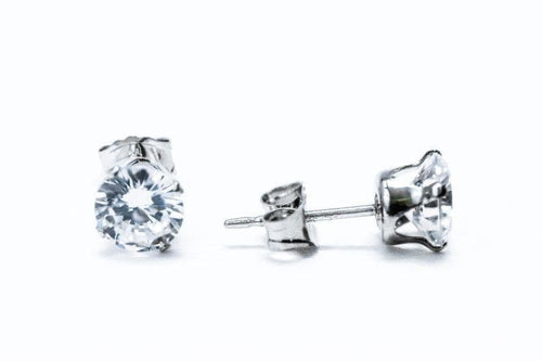 1 ct Sterling Silver CZ Stud Earrings 5MM - piper-and-dune - Jewelry