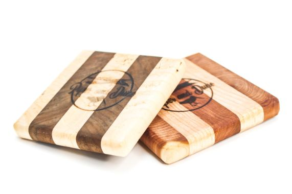 Set of 4 Striped Wood Coasters - piper-and-dune - Home Goods