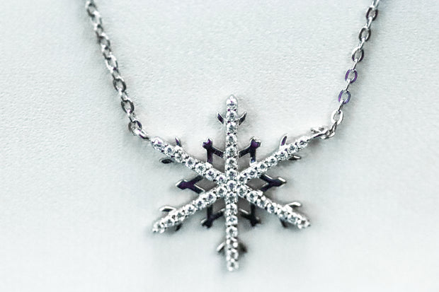 "Sterling Silver Unique Snowflake Clear CZ 16"" Necklace - piper-and-dune - Jewelry"