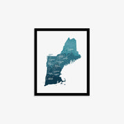 "New England Map Print 8"" x 10"""
