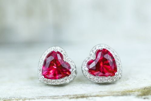 Sterling Silver Ruby Big Heart CZ Earrings - piper-and-dune - Jewelry