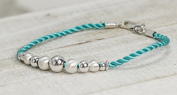 Sterling Silver Beads Turquoise Silk Rope Bracelet - piper-and-dune - Jewelry