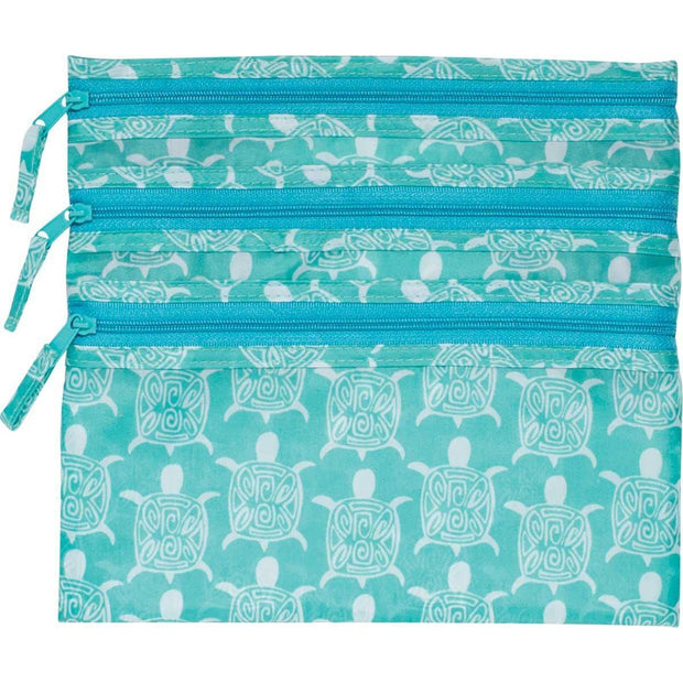 Sea Turtle 3-Zip Pouch Travel Organizer