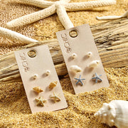 Sea Shell Stud Earrings - Set of Three - 2 Options