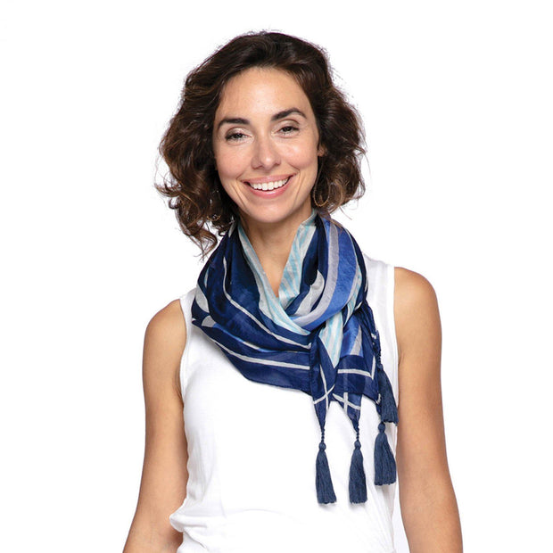Mariah Blue Square Silk Scarf